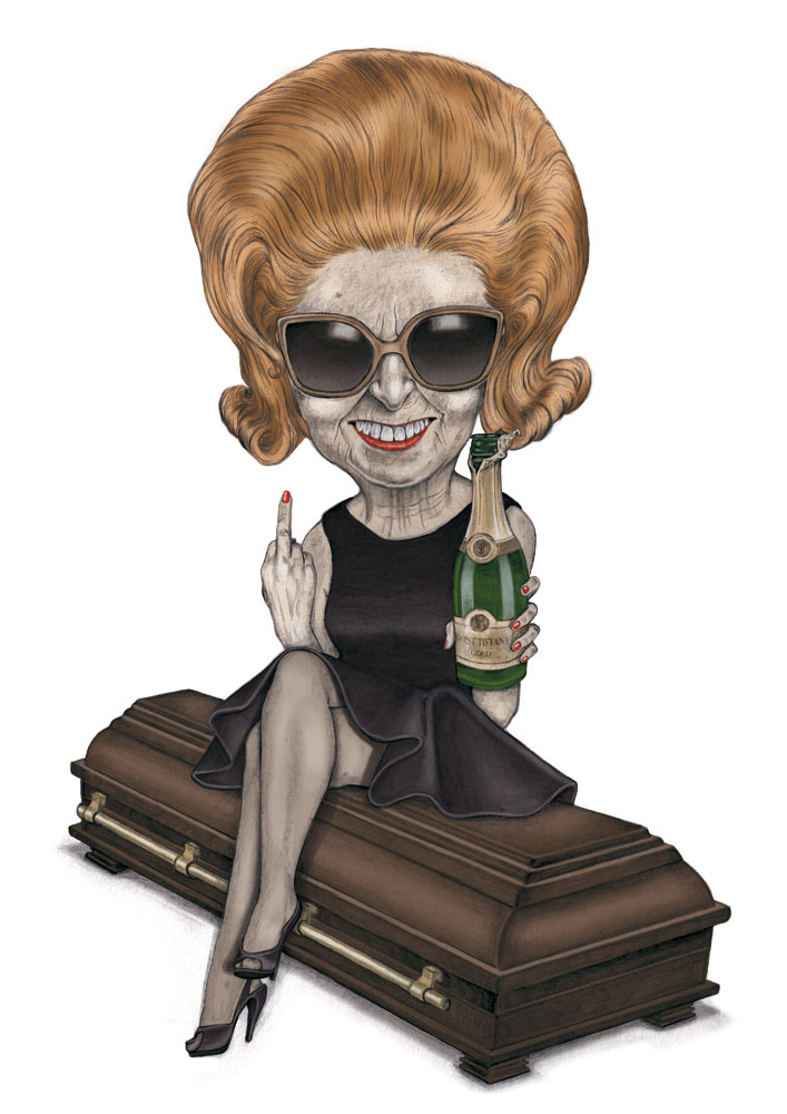 illustration, illustrations, illustrator, illustrators, woman, women, sunglasses, hair, big hair, champagne, beverage, alcohol, coffin, smile, smiling, happy, middle finger, heels, high heels, mourning, funeral
