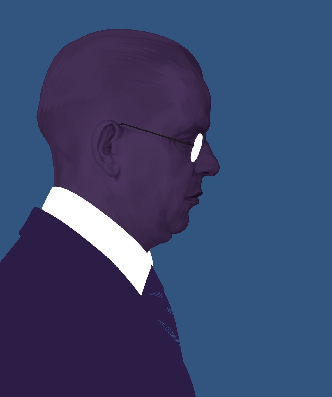 illustration, illustrations, illustrator, illustrators, man, men, glasses, balding, suit, profile, side view, monochromatic, serious, expression