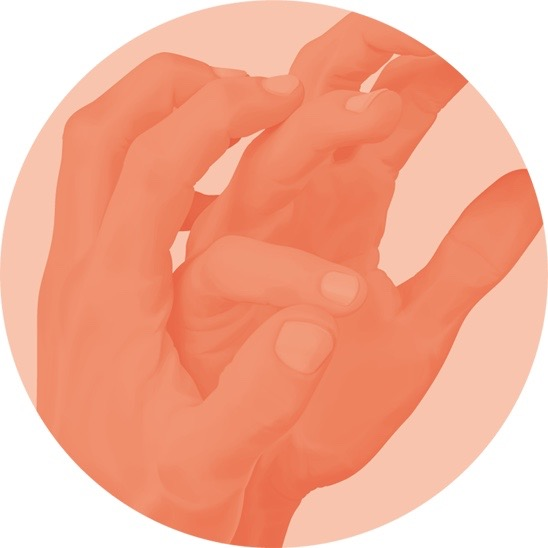 illustration, illustrations, illustrator, illustrators, vignette, closeup, hand, hands, pose, posing, orange red, crop, cropped