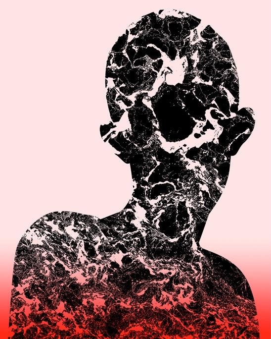 illustration, illustrations, illustrator, illustrators, head, heads, texture, marble, marbled, gradient, float, floating, person, portrait, dream, dreamy, fantasy