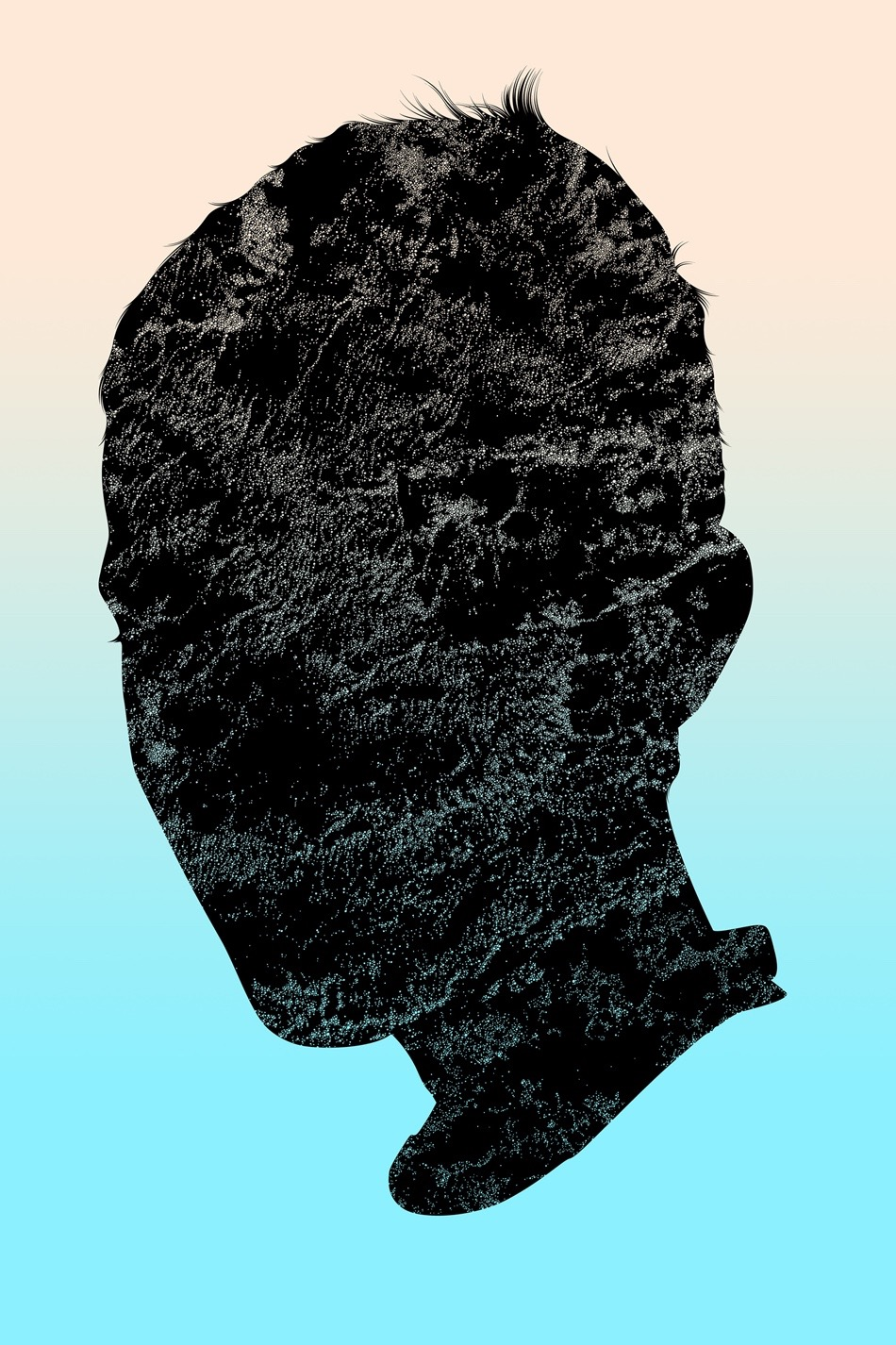 illustration, illustrations, illustrator, illustrators, head, heads, texture, marble, marbled, gradient, float, floating, boy, boys, man, men, person