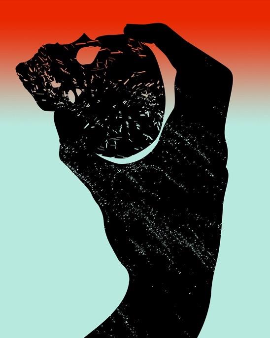 illustration, illustrations, illustrator, illustrators, hand, hands, hold, holding, gradient, texture, skull, skulls, death, dark