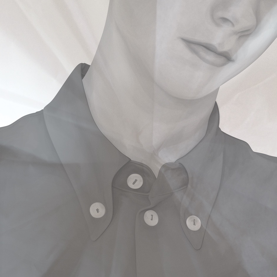 illustration, illustrations, illustrator, illustrators, boy, boys, child, children, kid, kids, button, buttons, overlay, texture, polo, shirt, closeup, zoom, gray, grayscale