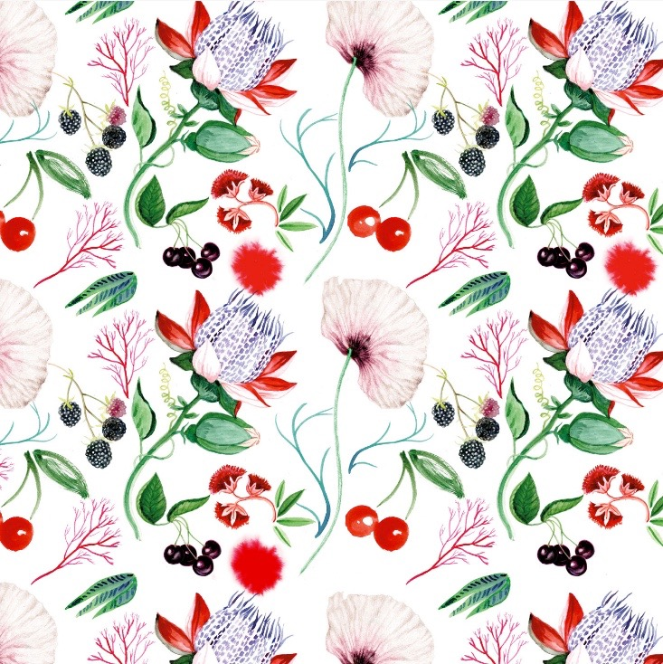 illustrator, illustrators, illustration, illustrations, floral, flower, flowers, plant, plants, cherry, fruit, pattern, composition