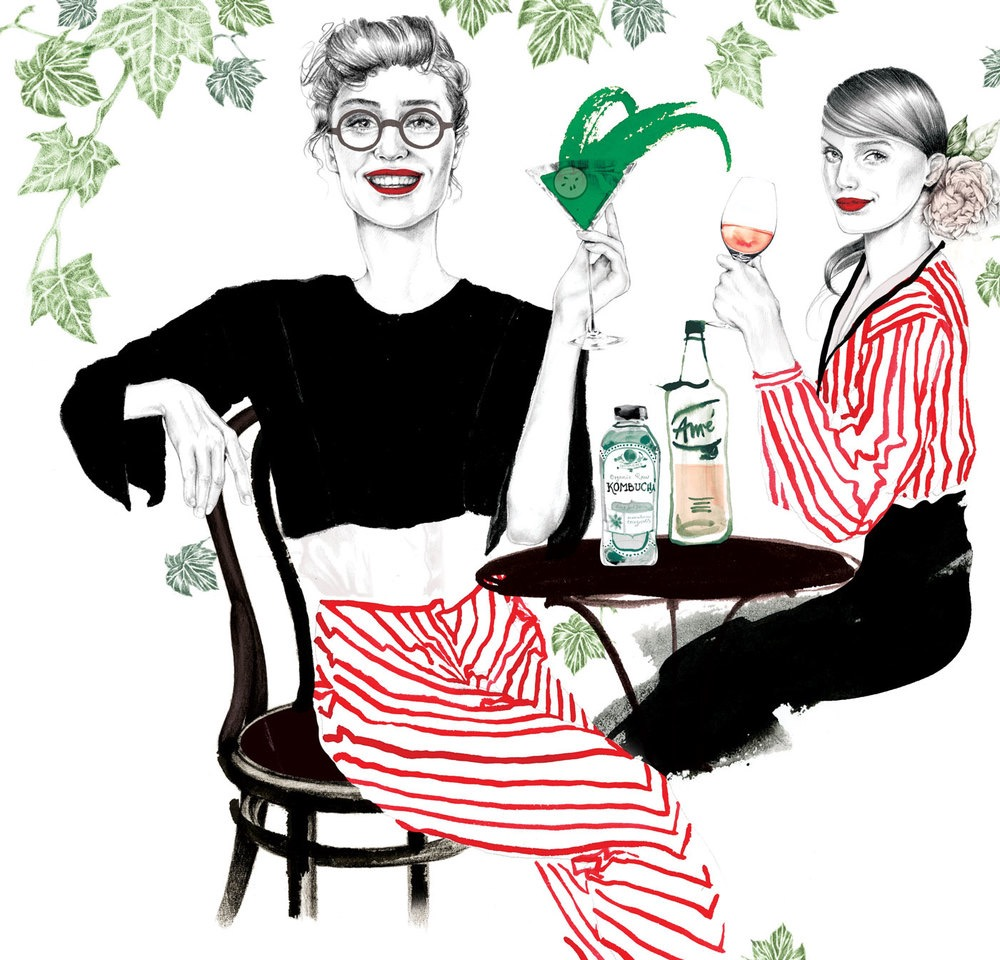 illustrator, illustrators, illustration, illustrations, woman, women, alcohol, drink, drinking, cocktails, drinks, splash, cafe, flowers, flower, leaf, leaves, glasses, smiling, happy, happiness, joy, happy hour