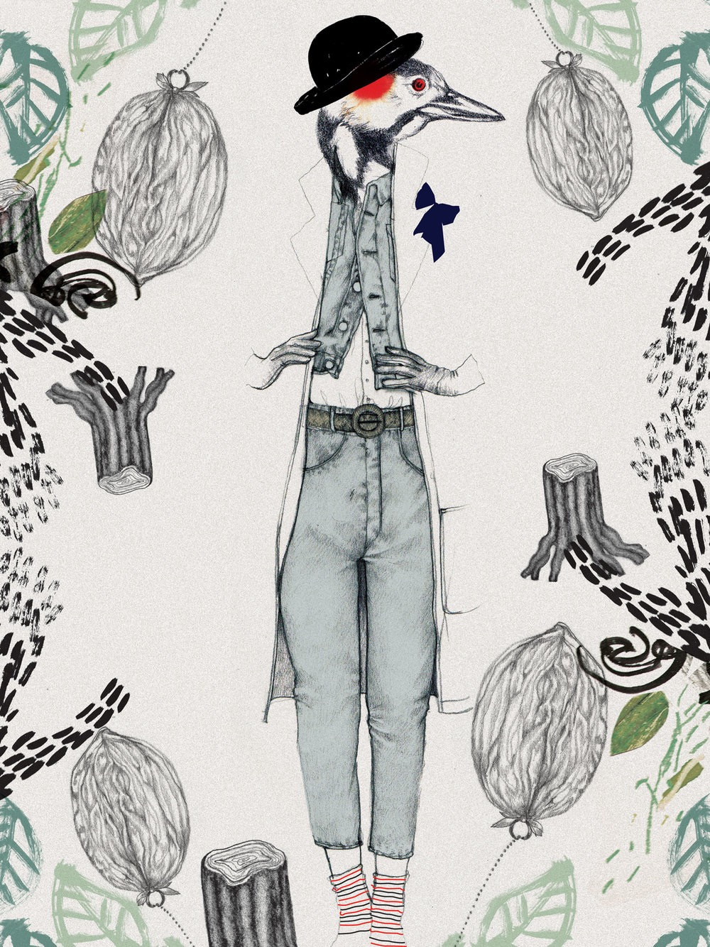 illustrator, illustrators, illustration, illustrations, leaf, leaves, print, stamp, tree trunk, bird, birds, walnut, walnuts, suit, suits, retro, hat, stippling