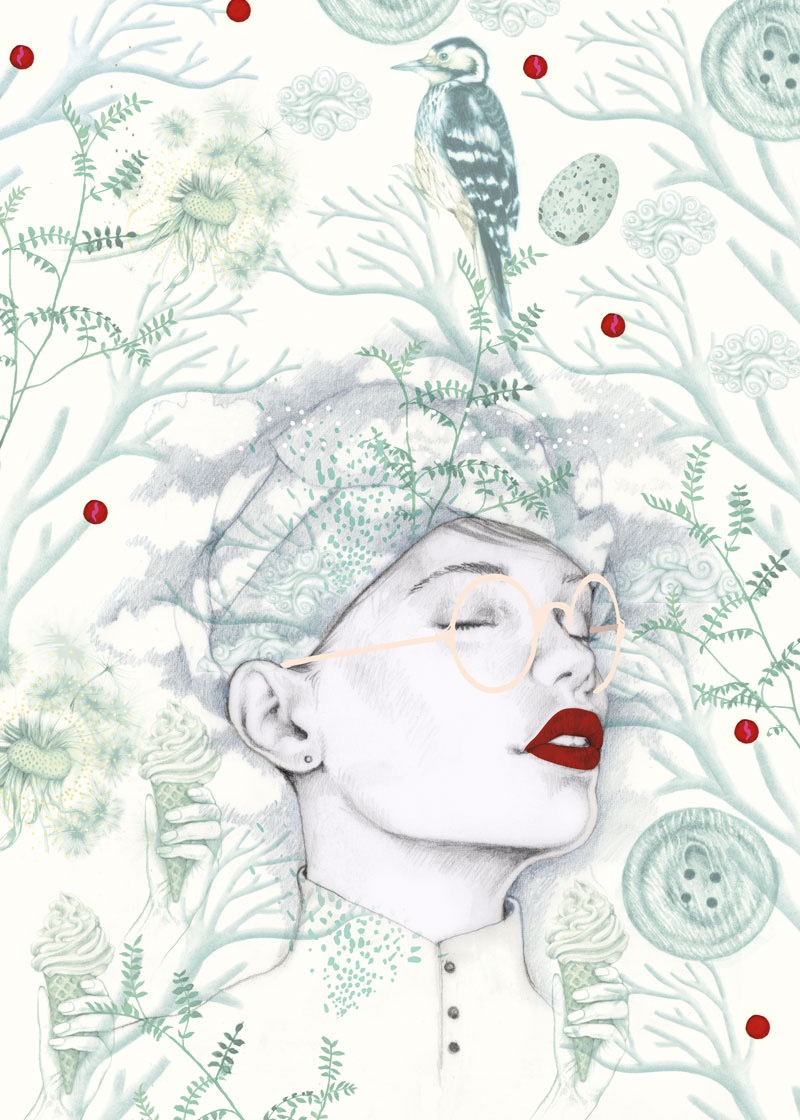 illustrator, illustrators, illustration, illustrations, root, roots, fern, flower, flowers, egg, eggs, button, buttons, glasses, floral, brushstrokes, brushstroke, bird, birds, found objects, composition, woman, women, dream, ice cream