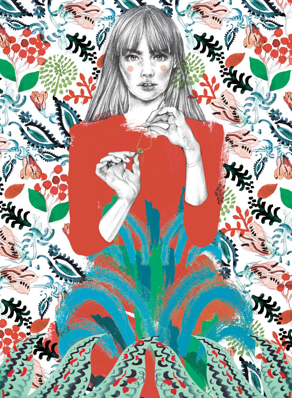illustrator, illustrators, illustration, illustrations, flower, floral, flowers, leaf, leaves, paisley, tesselate, tessellation, fern, ferns, plant, plants, woman, women, blush, blushing, portrait